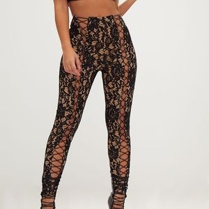 NEW PLT Black Lace Nude Eyelet Skinny Trousers
